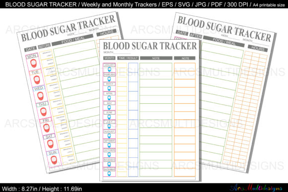 Download Free Blood Sugar Tracker Printable Graphic By Arcs Multidesigns for Cricut Explore, Silhouette and other cutting machines.