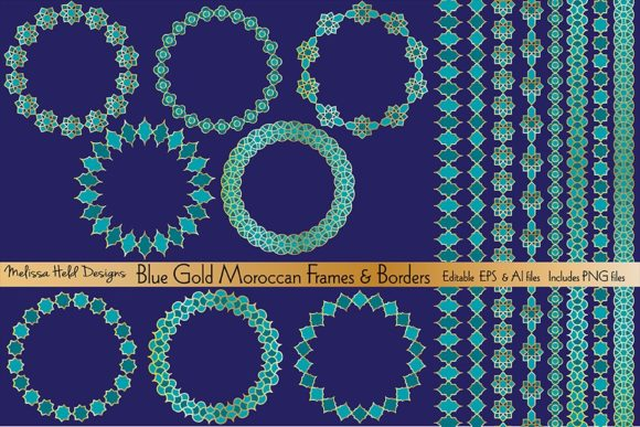 Download Free Blue Gold Moroccan Frames Borders Graphic By Melissa Held for Cricut Explore, Silhouette and other cutting machines.