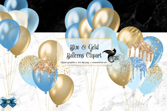 Print on Demand: Blue and Gold Balloons Clipart Grafik Illustrationen von Digital Curio