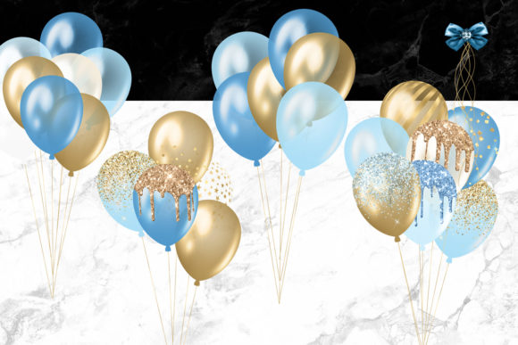 Print on Demand: Blue and Gold Balloons Clipart Graphic Illustrations By Digital Curio - Image 2