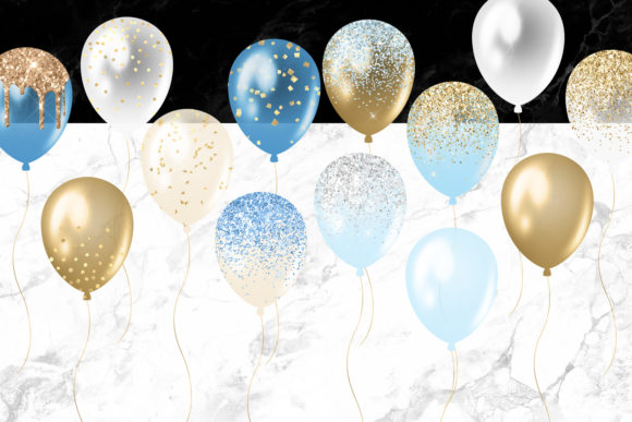Print on Demand: Blue and Gold Balloons Clipart Graphic Illustrations By Digital Curio - Image 4