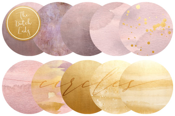 Print on Demand: Blush & Gold Circles Clipart Set Graphic Crafts By daphnepopuliers