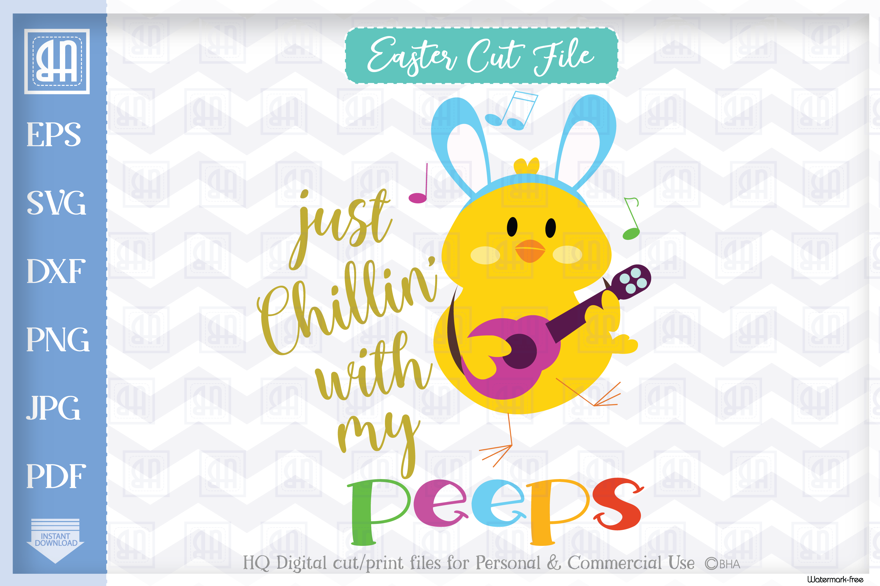 Download Free Chillin With My Peeps Easter Graphic By Blueberry Hill Art for Cricut Explore, Silhouette and other cutting machines.