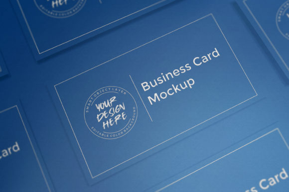 Classic Blue Business Card Mockup Graphic Product Mockups By suedanstock