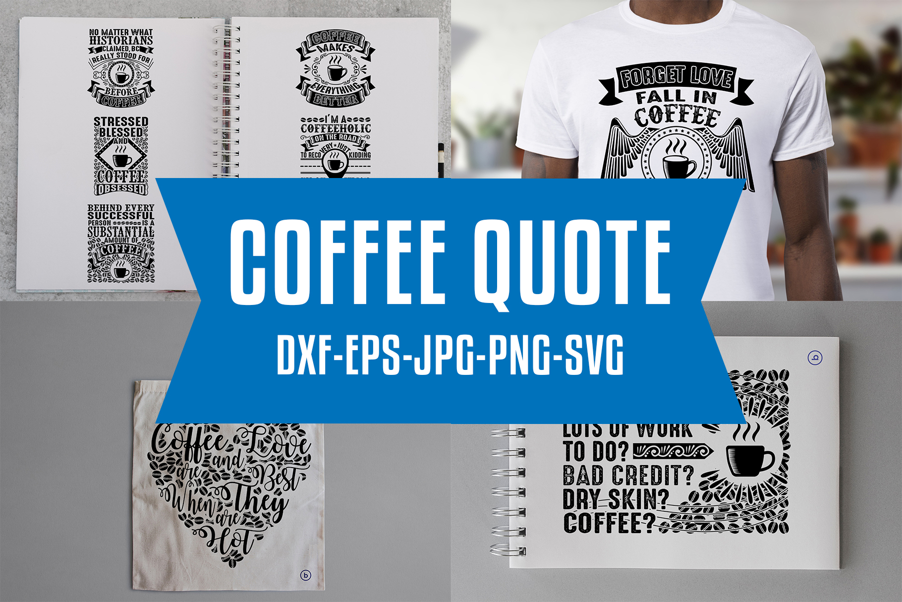 Download Free Coffee Quotes Craft V4 Black Graphic By Tosca Digital Creative for Cricut Explore, Silhouette and other cutting machines.