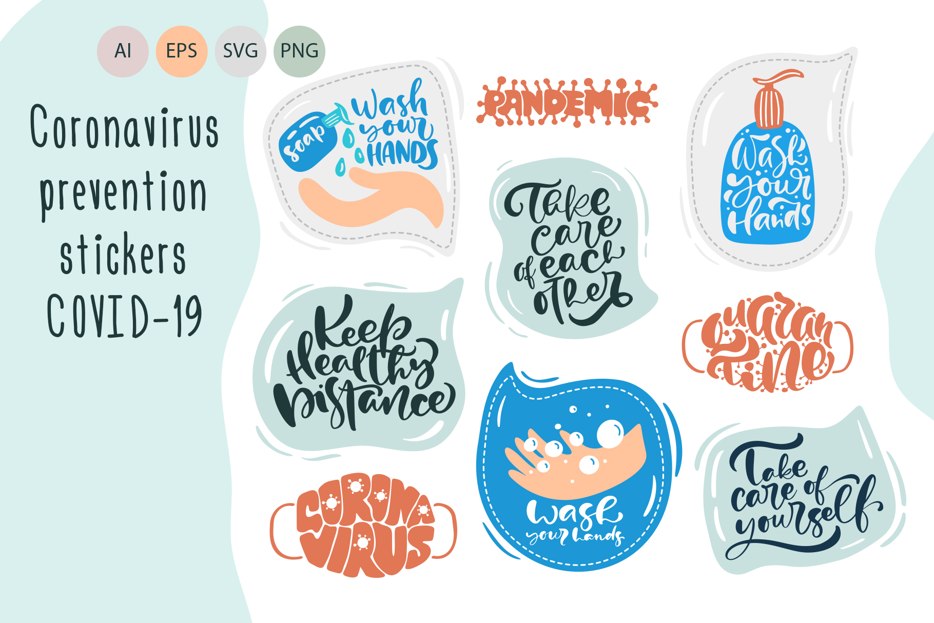 Download Free Coronavirus Prevention Stickers Graphic By Happy Letters for Cricut Explore, Silhouette and other cutting machines.