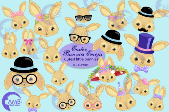 Cute Bunnies Emojis Clipart Graphic Illustrations By AMBillustrations