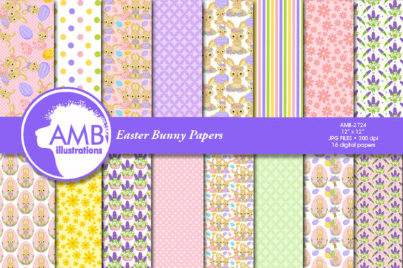 Cute Easter Bunnies Patterns Gráfico Moldes Por AMBillustrations