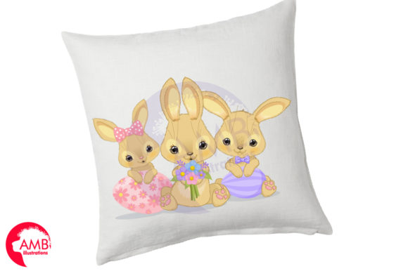 Download Free Cute Little Easter Bunnies Graphic By Ambillustrations for Cricut Explore, Silhouette and other cutting machines.
