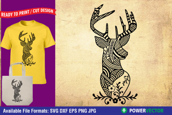 Download Free Deer Zentangle Animal Mandala Graphic By Powervector for Cricut Explore, Silhouette and other cutting machines.