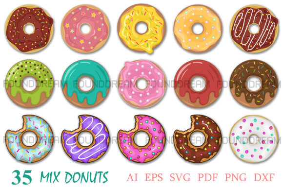 Print on Demand: Donuts Bundle | Vector Files Graphic Illustrations By FounDream