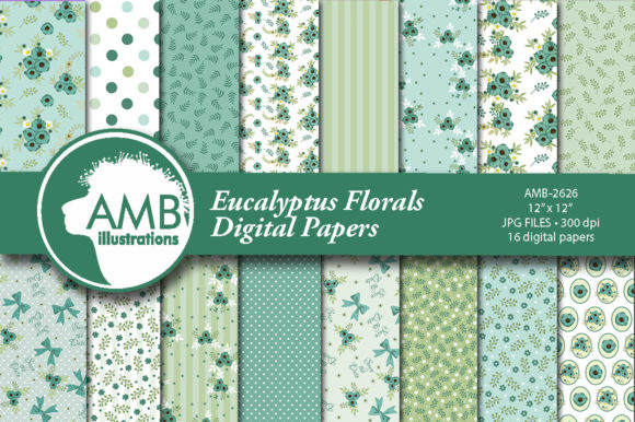 Eucalyptus Florals Patterns Graphic Patterns By AMBillustrations