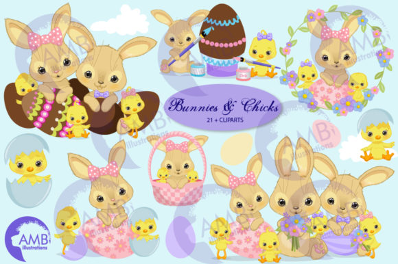 Easter Bunnies and Chicks Clipart Graphic Illustrations By AMBillustrations