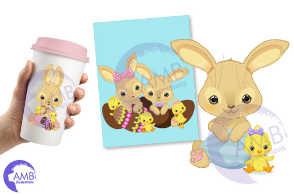 Easter Bunnies and Chicks Clipart Graphic Illustrations By AMBillustrations - Image 2
