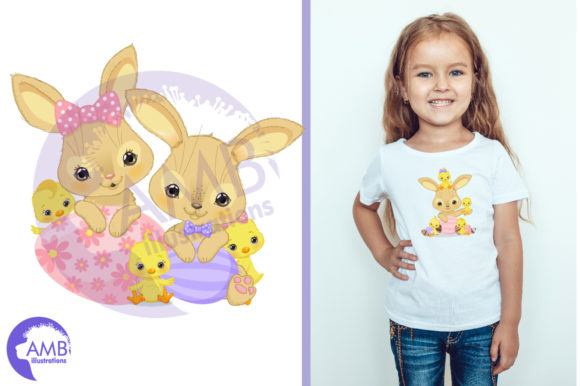 Easter Bunnies and Chicks Clipart Graphic Illustrations By AMBillustrations - Image 3