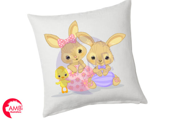 Easter Bunnies and Chicks Clipart Graphic Illustrations By AMBillustrations - Image 4