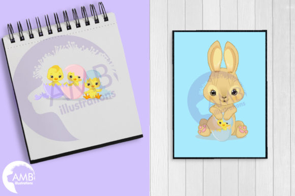 Easter Bunnies and Chicks Clipart Graphic Illustrations By AMBillustrations - Image 5