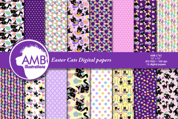 Easter Cats Patterns Graphic Patterns By AMBillustrations