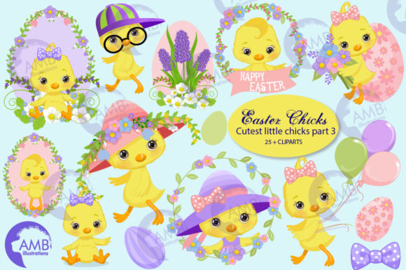 Easter Chicks Clipart 3 Graphic Illustrations By AMBillustrations