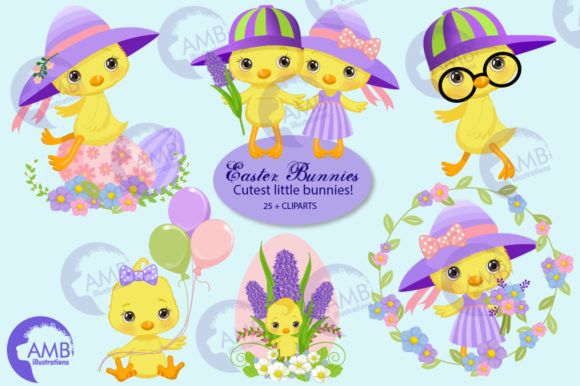 Easter Chicks Clipart 3 Pack Graphic Illustrations By AMBillustrations