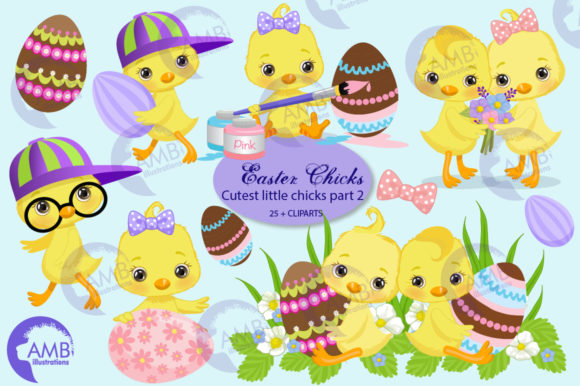 Easter Chicks Clipart Pack 2 Graphic Illustrations By AMBillustrations