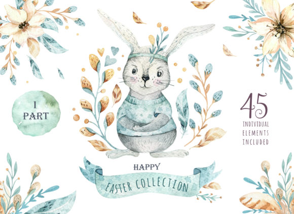 Easter Cute Bunny I.  Watercolor Set Graphic Illustrations By kristinakvilis