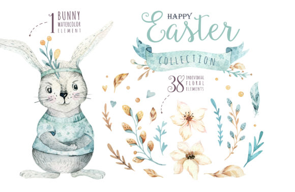 Easter Cute Bunny I.  Watercolor Set Graphic Illustrations By kristinakvilis - Image 2