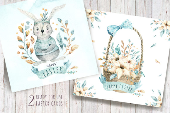 Easter Cute Bunny I.  Watercolor Set Graphic Illustrations By kristinakvilis - Image 5