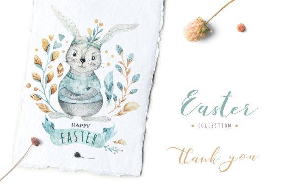 Easter Cute Bunny I.  Watercolor Set Graphic Illustrations By kristinakvilis - Image 6