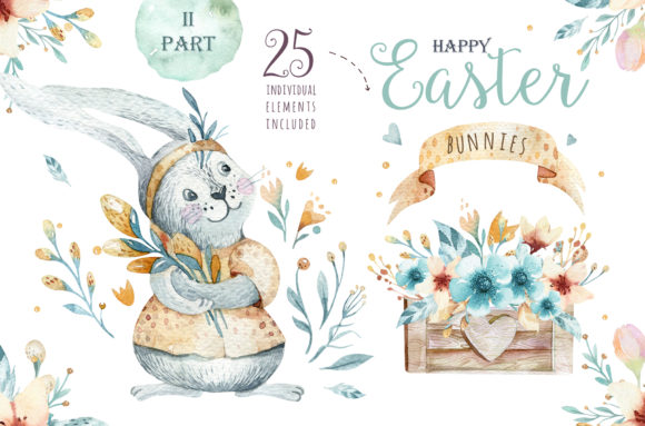Easter Cute Bunny II Watercolor Set Graphic Illustrations By kristinakvilis - Image 1