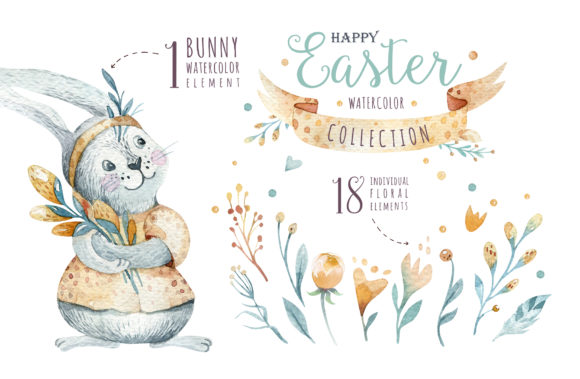 Easter Cute Bunny II Watercolor Set Graphic Illustrations By kristinakvilis - Image 2