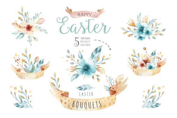 Easter Cute Bunny II Watercolor Set Graphic Illustrations By kristinakvilis - Image 4