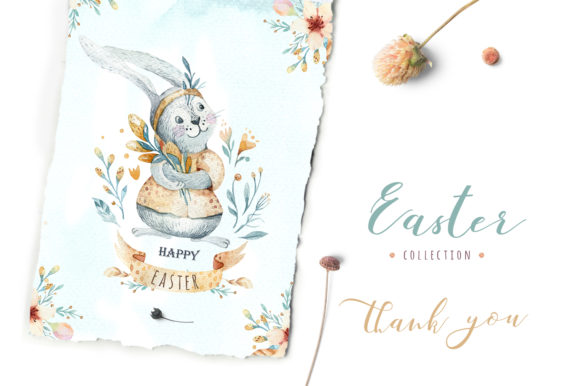 Easter Cute Bunny II Watercolor Set Graphic Illustrations By kristinakvilis - Image 8
