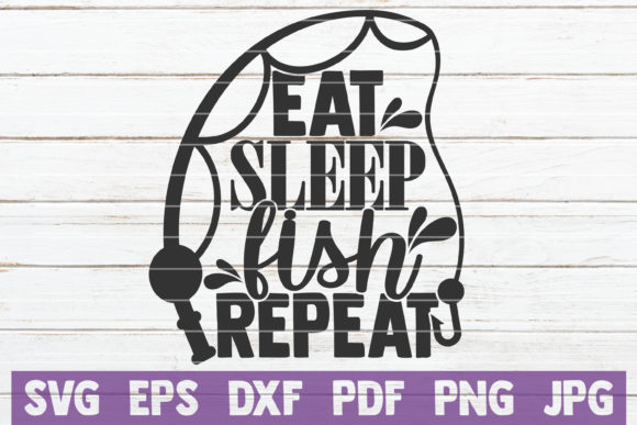 Download Free Eat Sleep Fish Repeat Graphic By Mintymarshmallows Creative for Cricut Explore, Silhouette and other cutting machines.