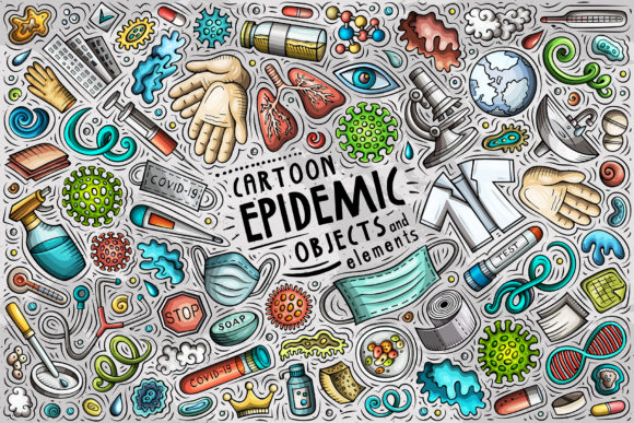 Epidemic Cartoon Objects Set Graphic Objects By BalabOlka