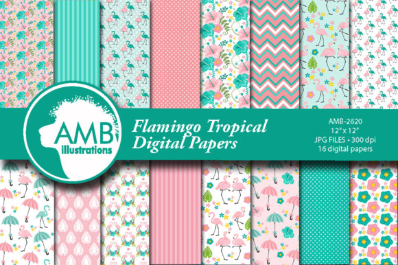 Flamingo Tropical Patterns Graphic Patterns By AMBillustrations - Image 1