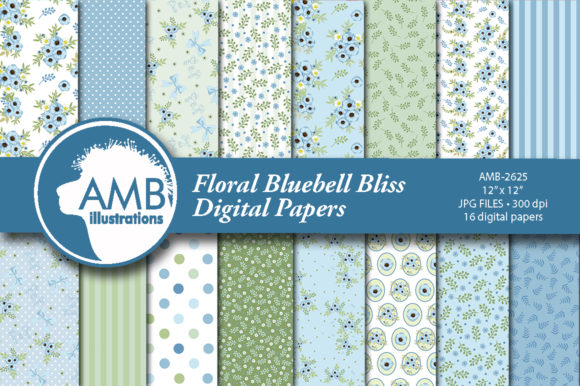 Floral Bluebell Patterns Graphic Illustrations By AMBillustrations