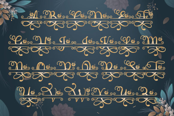 Print on Demand: Floral Split Display Font By Almeera Studio - Image 4