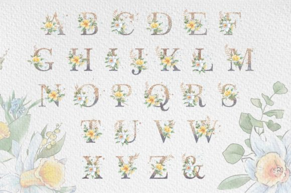 Print on Demand: Flowers Alphabet Graphic Illustrations By nicjulia