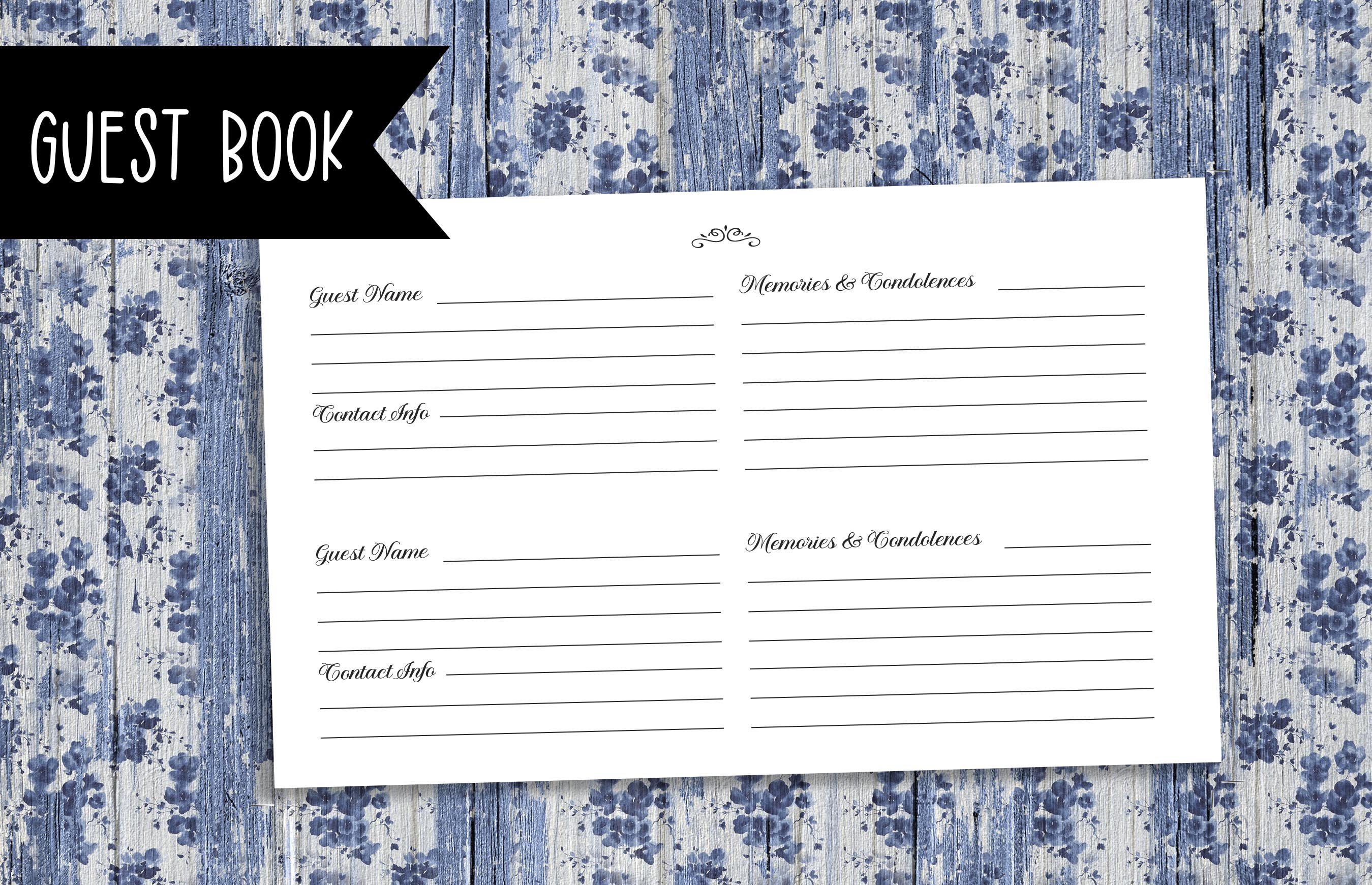 Download Free Funeral Guest Book Kdp Template Graphic By Planfantastic for Cricut Explore, Silhouette and other cutting machines.