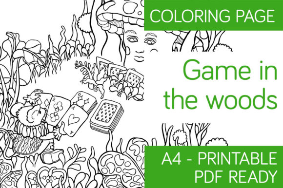 Download Free Game In The Woods Coloring Page Graphic By Milaski Creative for Cricut Explore, Silhouette and other cutting machines.