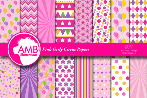 Girly Circus Patterns Graphic Patterns By AMBillustrations
