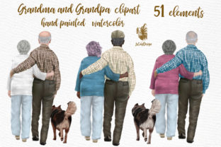 Print on Demand: Grandparents Clipart Graphic Illustrations By LeCoqDesign