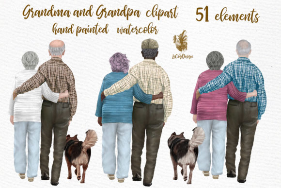 Grandparents Clipart Older People Gráfico Ilustraciones Por LeCoqDesign