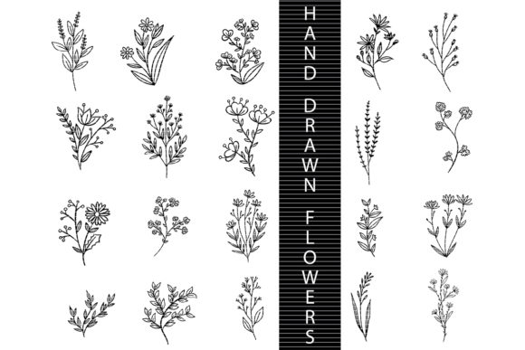 Print on Demand: Hand Drawn Flowers Graphic Crafts By MeshaArts