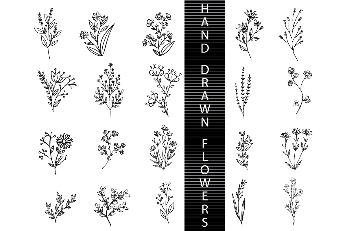 Download Free Hand Drawn Flowers Graphic By Meshaarts Creative Fabrica for Cricut Explore, Silhouette and other cutting machines.