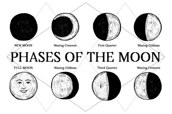 Print on Demand: Hand-Drawn Phases of Moon Graphic Illustrations By Frattaglia
