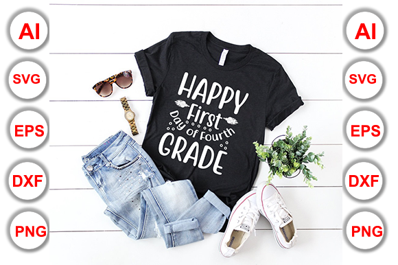 Happy First Day of Fourth Grade Graphic Print Templates By Graphics Cafe