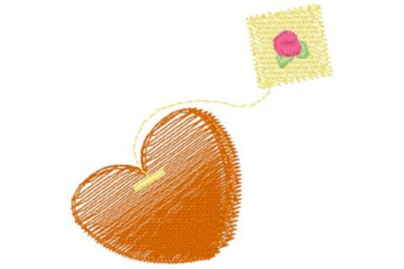 Heart Tea Bag Tea & Coffee Embroidery Design By Sue O'Very Designs