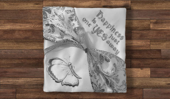 Print on Demand: In-the-Hoop Wedding Ring Cushion ITH Wedding Designs Embroidery Design By Embroidery Shelter - Image 1